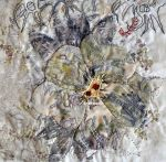 """Drought Rose, 2013, hand embroidery, naturla dyes and ecoprints, 12x12"""", in private collection"""
