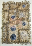 """The Difference Between A Plum, 2013, hand and machine embroidery, natural dyes and ecoprints, 18x26"""""""