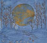 """Moon Series #1, indigo cotton, rust,  naturally dyed and commercial threads, hand embroidery, 7x7"""", in private collection."""