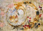 """Exposé"" 2015 Natural dyes, rust, cotton, silk, 26×18″"