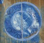 """Moon Series #2, indigo cotton, rust,  naturally dyed and commercial threads, hand embroidery, 7x7"""", in private collection."""