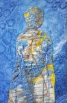 """Lady of Sky, detail, indigo and Procion dyed cotton, ecoprinted cotton, naturally dyed and commercial threads, 9x24"""", arlee barr© in private collection"""