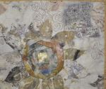 """""""Love Letter"""" detail, ecoprinted cotton, naturally dyed silks, hand embroidery, 20×18″ arlee barr©"""