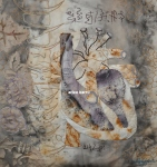 """Mother's Heart, 2013, hand embroidery, natural dyes and ecoprints, 12x12"""", in private collection"""