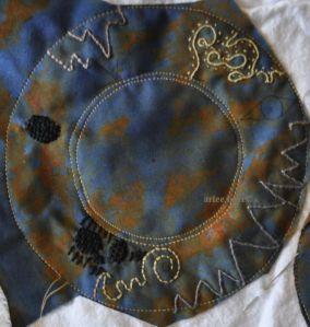 overdyed rust cotton sample stitch
