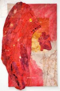 """The Weight She Carries, 2014, hand embroidery, natural and synthetic dyes, rust, 24x40"""""""