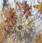 Not A Hive Mind, detail, 2012, hand and machine embroidery, rusted and ecoprinted cotton, in private collection