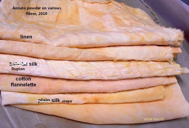 Annato powder used on several fibre types