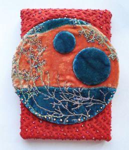 hand embroidered silk velvet moon art