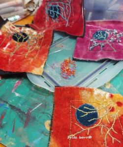 embroidery with naturally dyed threads